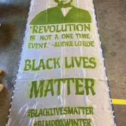 BLM banner, stencils and spray paint, made with Marissa Perez