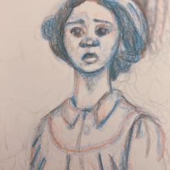 "Color pencil sketch of Thuso Mbedu in ""Undergound Railroad"""