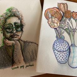 Pen and color pencil sketches