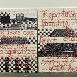 """30 x 40"""" collage, photo by Andrew Wallner with the Black Exclusion Laws page of the 1857 Oregon Constitution, quotes by Elizabeth Woody and Mic Capes"""
