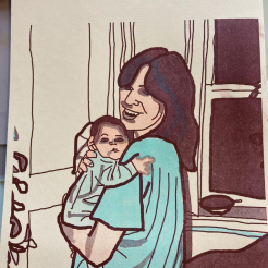 Two layer risograph print of my mother and me