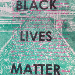 Three layer risograph print with Andrew Wallner photo, the Black Exclusion Laws page of the 1857 Oregon Constitution, BLACK LIVES MATTER