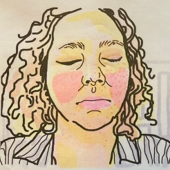 Detail of four layer risgraph print self portrait