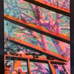 Six layer risograph print of Tender Talk roof