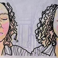 Four layer risograph print self portrait