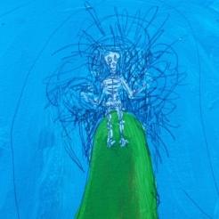 Detail weird skeleton dream painting